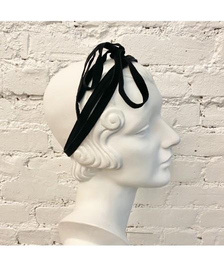 Black Suede Long Ties Headband