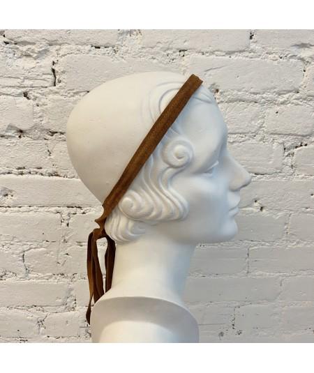 Peanut Suede Long Ties Headband