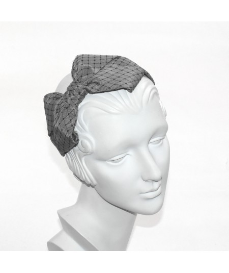 Steel Grey Bengaline Covered with Black Veiling Side Bow Headband