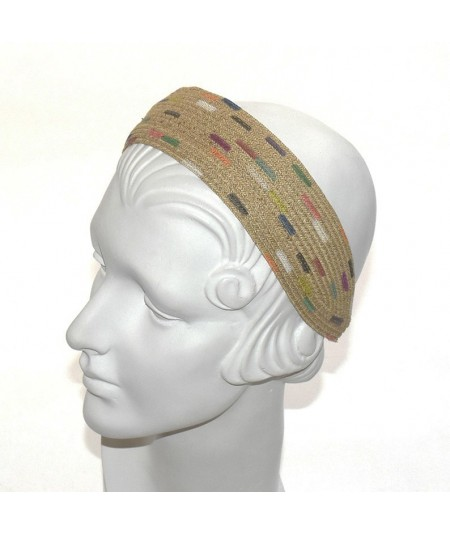 Painted straw headband by Jennifer Ouellette