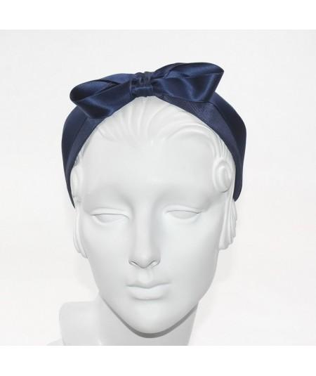 Navy Grosgrain with Satin Bow Headband