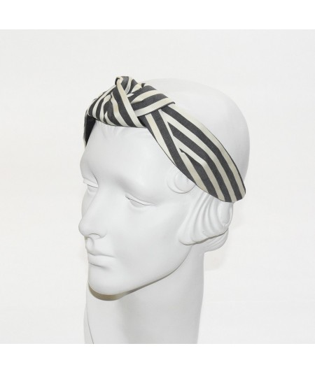 Cream/Charcoal Cotton Stripe Turban Headband with Elastic