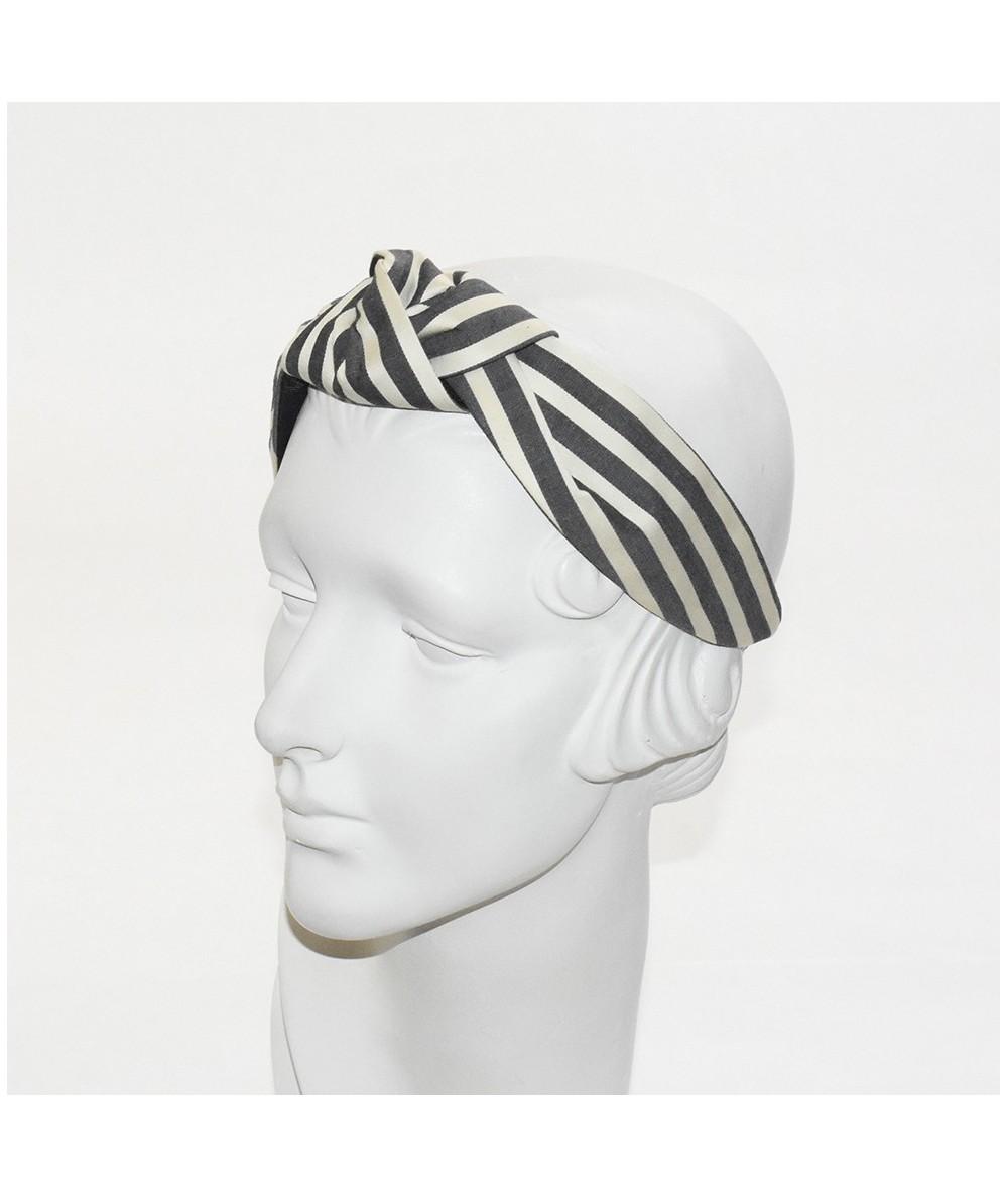 Cream/Charcoal Cotton Stripe Turban Headband with Elastic