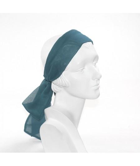 Teal Silk Long Ties Headband