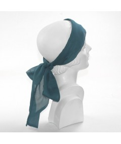 Teal Silk Long Ties Headband