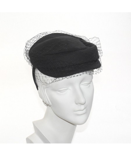 Twill Cap with Veiling Detail Fascinator
