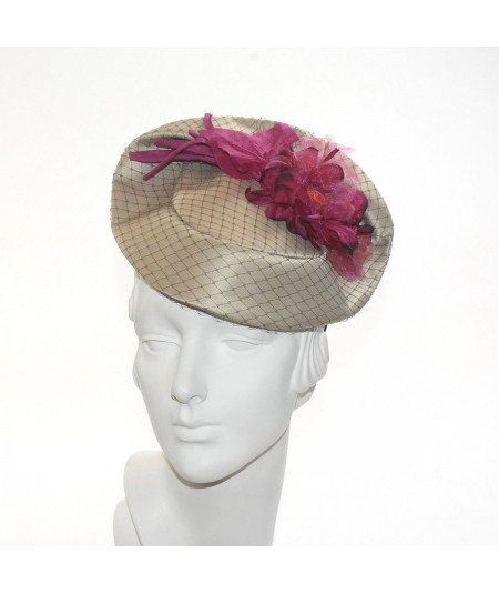 Satin Covered Veiling Fascinator with Organza Flower
