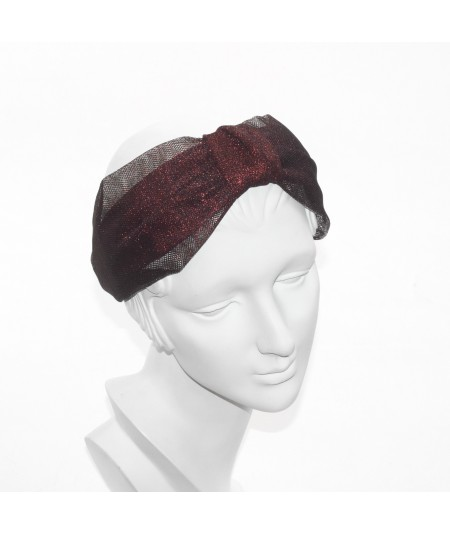 Red Metallic Tulle Draper Headband