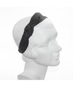 Black POOLSIDE Raffia Turban with Side Knot