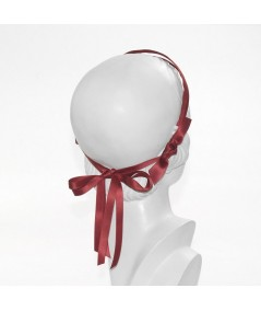 Rouge Double Satin Headband with Bow Tie at Nape of Neck