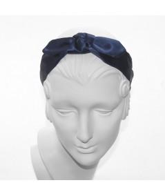 Navy Satin Riveter Bow Headband