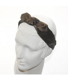 Brown Satin Riveter Bow Headband