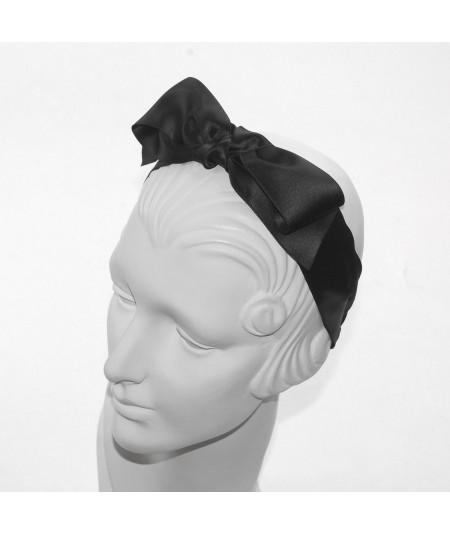 Black Satin Center Bow Headband
