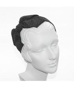 Black Satin Covered Grey Veiling Carolina Bow Headband