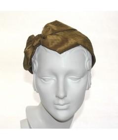 Antique Gold Satin Covered Olive Veiling Carolina Bow Headband