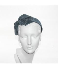 Turquoise Satin Covered Blue Veiling Carolina Bow Headband