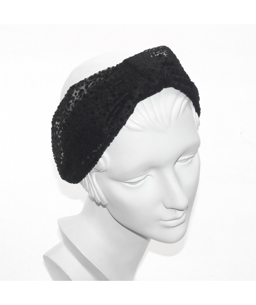 Black Dotted Tulle Draper Turban