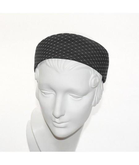 Black Satin Covered Grey Veiling Extra Wide Headband