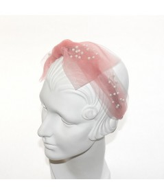 Coral Tulle Side Bow Pearls Headband