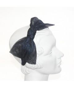 Metallic Tulle Side Bow Headband - Navy