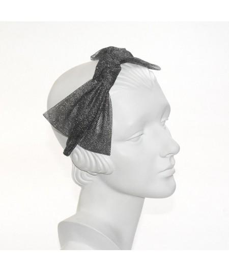 Metallic Tulle Side Bow Headband - Dark Silver