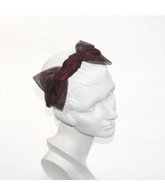 Metallic Tulle Side Bow Headband - Red