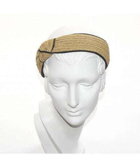 Straw and Grosgrain Side Turban Headband