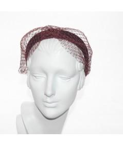 Burgundy Tonal Velvet Headband with Extra Wide Veiling Knot Turban