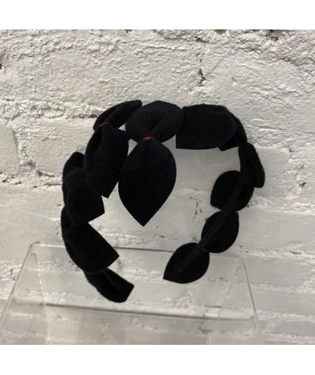 Black with Red Stitch Vintage Styled Headpiece Sabrina - Handmade of Velour Felt
