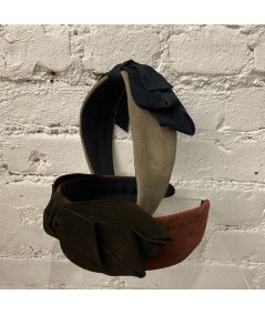 Tan Elephant with Navy - Burgundy with Espresso Suede Center Bow Headband