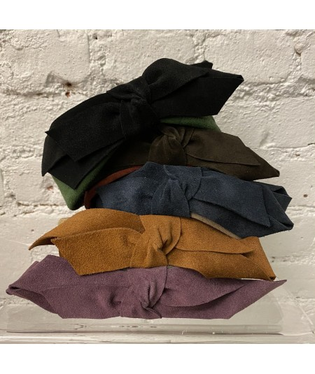 Forest with Black - Burgundy with Espresso - Tan Elephant with Navy - Taupe with Peanut - Charcoal with Plum Suede Center Bow He