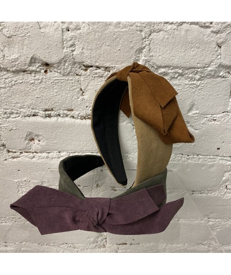 Tan Elephant with Peanut - Charcoal wiht Plum Suede Center Bow Headband