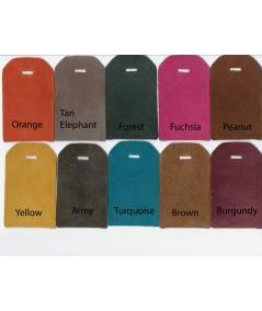 Orange - Tan Elephant - Forest - Fuchsia - Peanut - Yellow - Army - Turquoise - Brown - Burgundy Suede