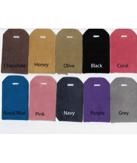 Chocolate - Honey-  Olive - Black - Coral - Royal Blue - Pink - Navy - Purple - Grey Suede