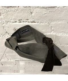 Charcoal Suede Knot Turban Head Wrap with Black Bow at Back