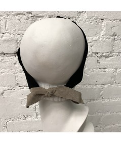 Black Suede Knot Turban Head Wrap with Tan Elephant Bow at Back