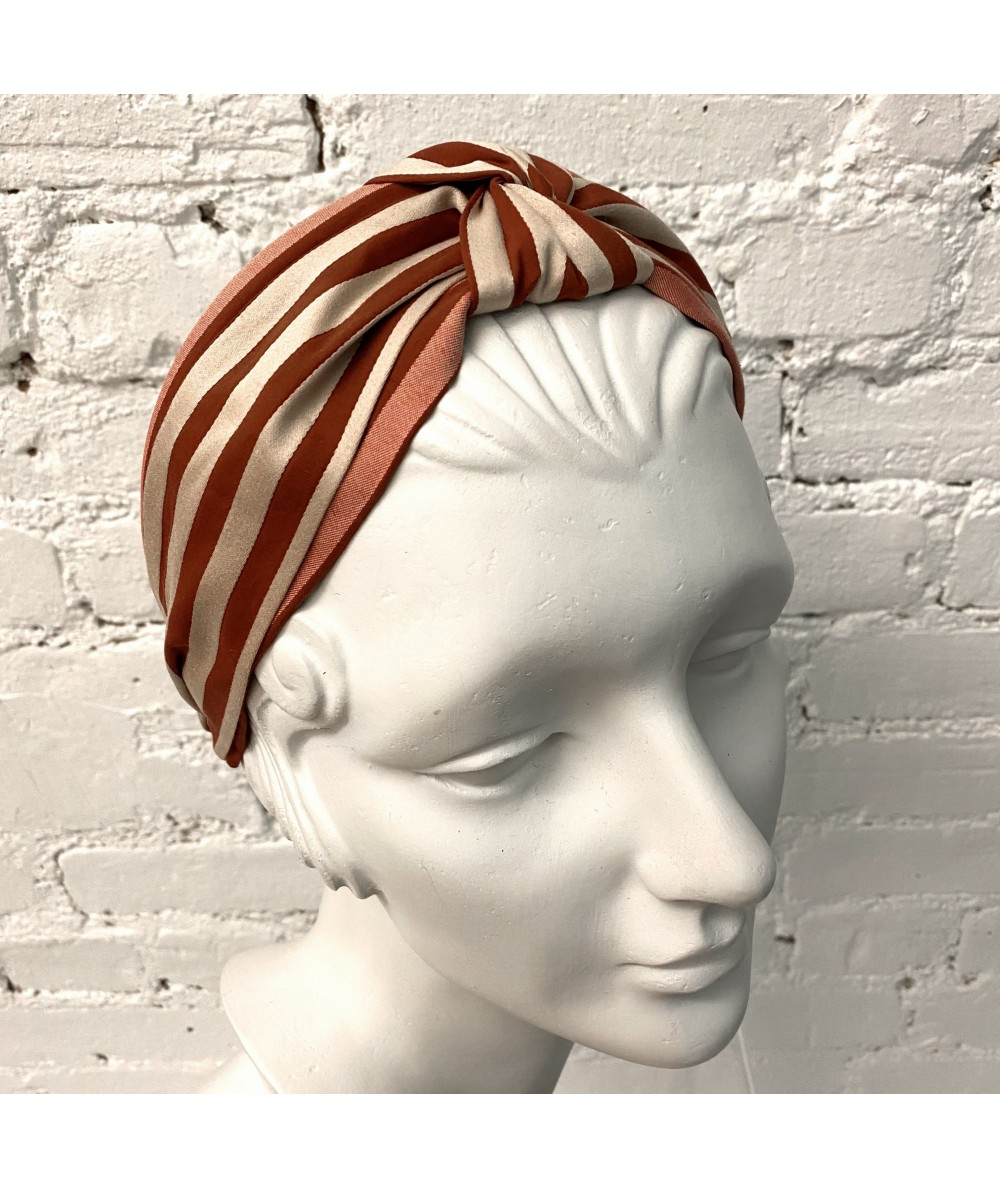 Beige/Burnt Stripe Cotton Print Turban