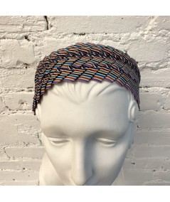 Multi Extra Wide Pleated Stripe Grosgrain Headband