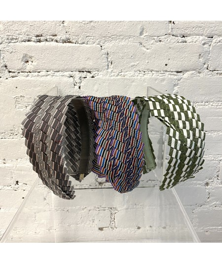 Light Grey - Multi - Green White Extra Wide Pleated Stripe Grosgrain Headband