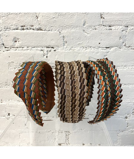 Burnt White Blue - Camel Brown - Brown/Orange Extra Wide Pleated Stripe Grosgrain Headband