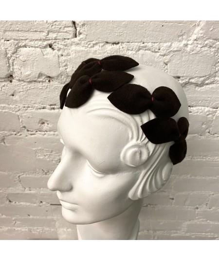 Brown with Hot Pink Stitch Vintage Styled Headpiece Sabrina - Handmade of Velour Felt