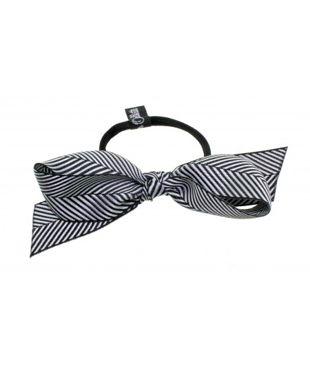 Black Fishbone Ribbon Bow Ponytail Holder