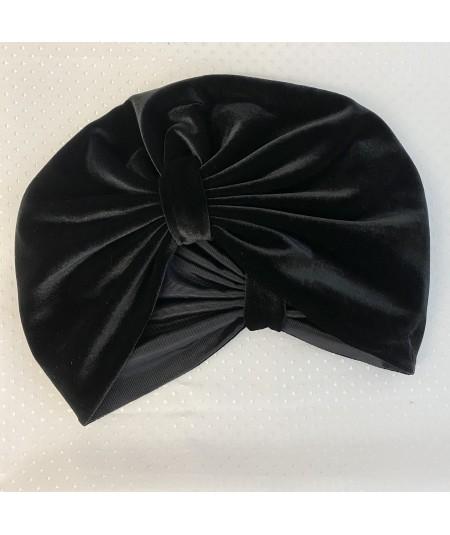 Black Velvet with Black Grosgrain Texture Turban Hat