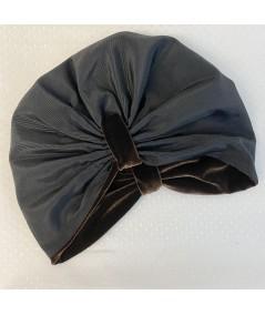 Brown Velvet with Black Grosgrain Texture Turban Hat