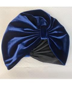 Navy Velvet with Black Grosgrain Texture Turban Hat