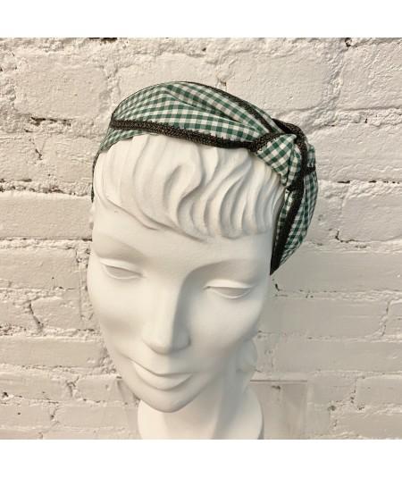 Green Gingham Check with Black Straw Edge Side Turban Headband