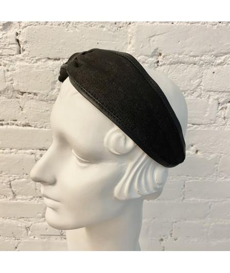 Indigo Denim with Brown Leather Side Turban Headband