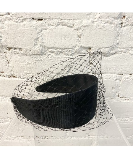 Black Bengaline Extra Wide Headband with Black Covered Veiling