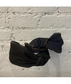 Denim with Leather Side Turban Headband - Black with Black - Indigo with Brown