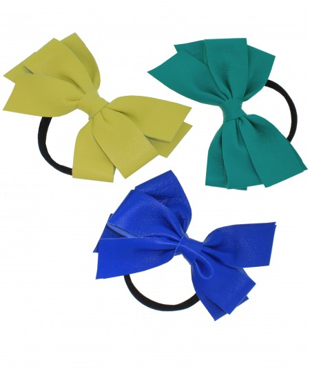 Citrus - Aquamarine - Electric Blue Leather Double Bow Pony